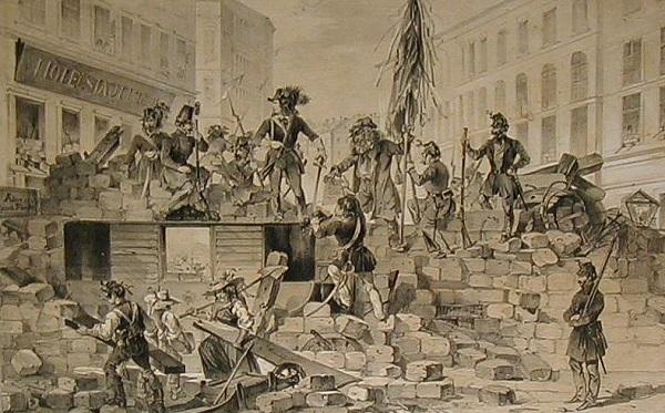 Баррикады революционеров в Вене, май 1848.
